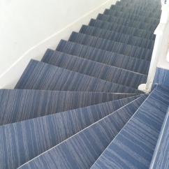 Habillage des marches d'escalier avec un revêtement textile (moquette)